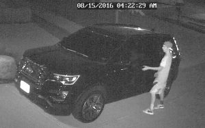 Surveillance video photo of a suspected vehicle burglary attempt on Fannin Drive in the Heritage neighborhood of Lantana.