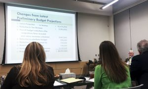 Assistant Superintendent of Finance Mike Ball explains the changes made to the latest preliminary budget projections because the certified tax roll was 2.5 percent lower than anticipated. (Photo by Christina Ulsh/Lewisville Texan Journal)