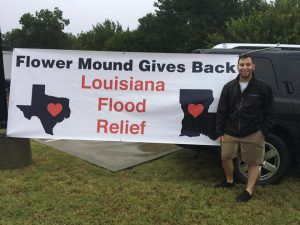 Austin Andrews of Flower Mound organized the flood relief drive