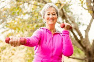 senior citizen woman exercizing