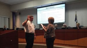 Swearing-in ceremony for Highland Village Fire Department Deputy Chief Travis Nokes.