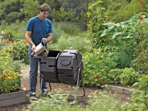 Tumbler composters are great for small spaces and make loading, unloading and turning much easier.  (Photo: Gardener's Supply Company)