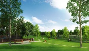 Rendering of dog park to be located east of the central roundabout at Lakeside.