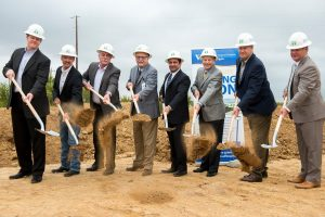 From left: Jason Wren, General Counsel, Wise Health System; Mark Duncum, Board of Directors, Wise Health System; Leon Fuqua, Chief Operating Officer, Wise Health System; Steve Summers, CEO, Wise Health System; Matt McLeod, Principal, Castle Development Group; Ron Disney, I-35 Management; Mike Hale, Owner, Mike Hale Architects; Corbett Nichter, VP, Adolfson & Peterson Construction. (Photo by Brian Maschino)
