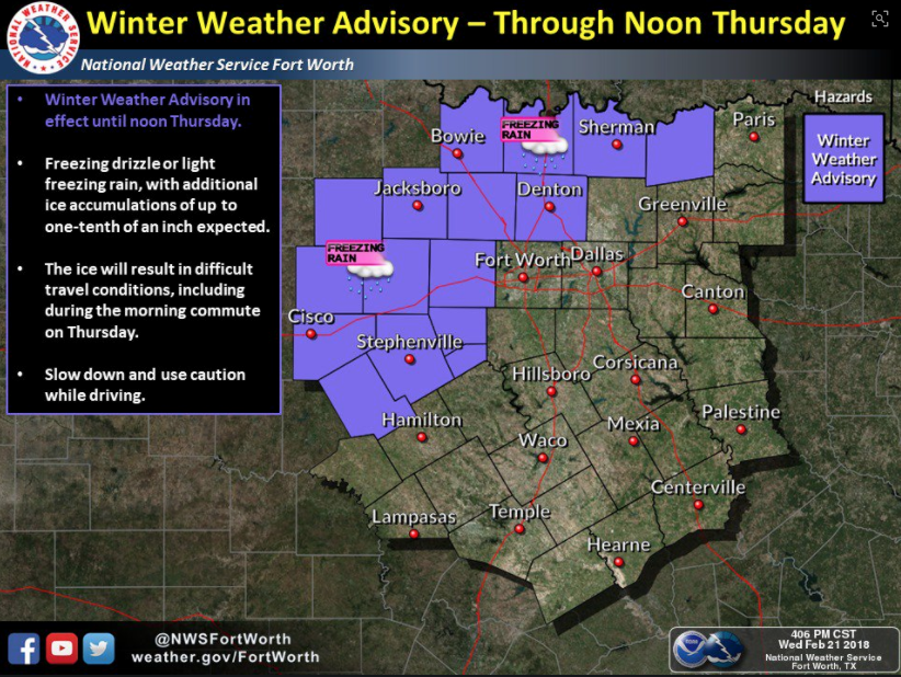 Winter weather advisory for Denton County through noon