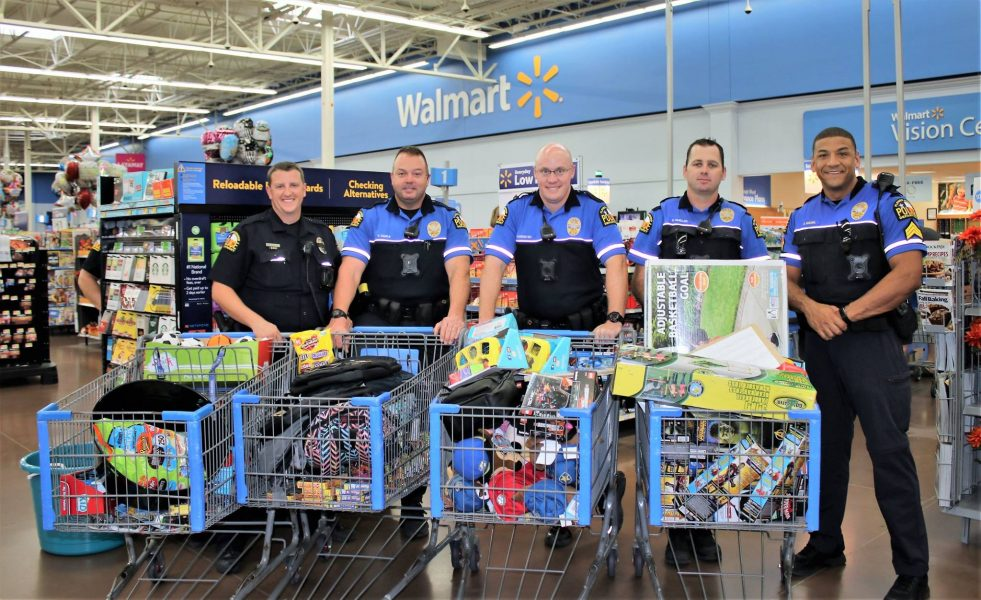 The Flower Mound Police Department Bike Unit purchased prizes and games with donations for Cook Children's patients (photo courtesy of FMPD).