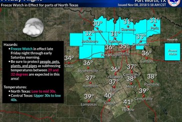 Freeze Watch issued for Denton County on Friday night