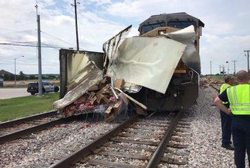 Truck struck by train in Roanoke