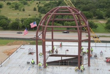 40-foot dome lifted to top of new Denton County Courthouse