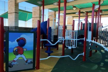 Gerault Park playground upgraded with baseball/softball theme