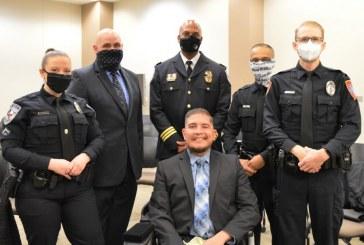 Denton officer who was shot last year awarded Purple Heart